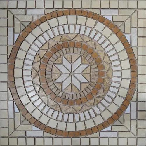 Rosone mandala cerâmico mosaico anticatto 80x80 cm