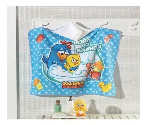Toalha de banho c/ capuz galinha pintadinha - dohler