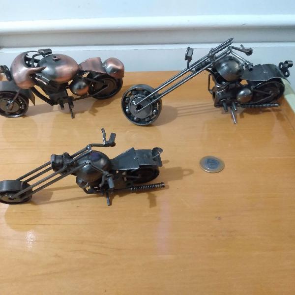 Três motos decorativas chopper aço metal artesanal r$599