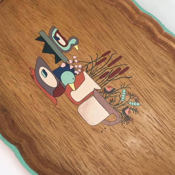 Bandeja em madeira pintada à mão