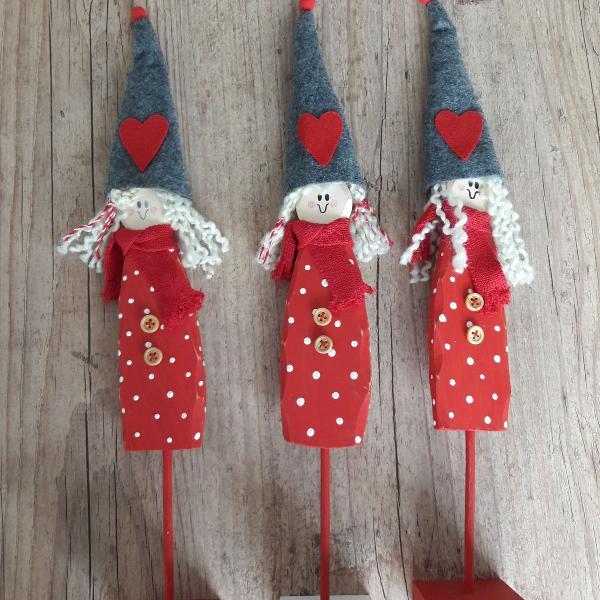 Bonecas decorativas de madeira - natal