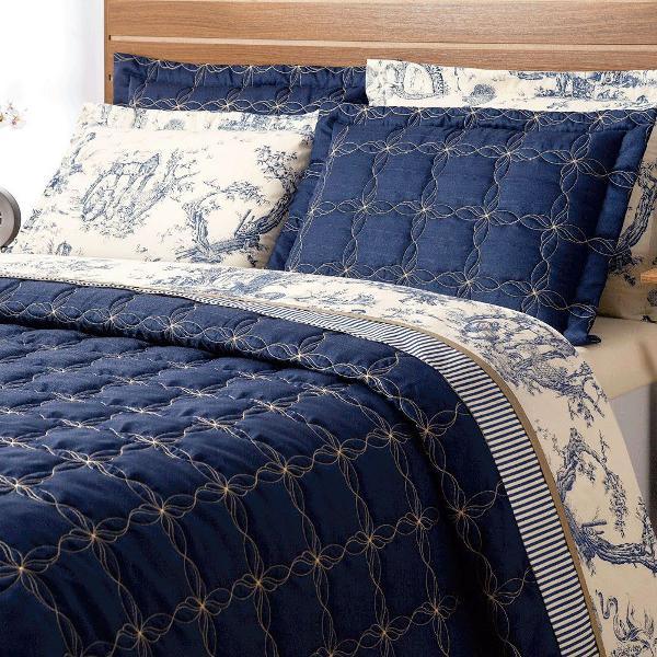 Cobre leito cama queen porcelana 3 peças