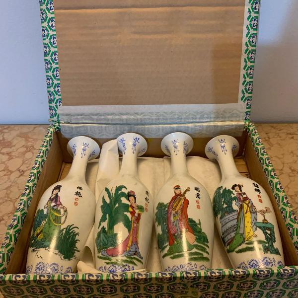 Conjunto de vasos decorativos de porcelana chinesa