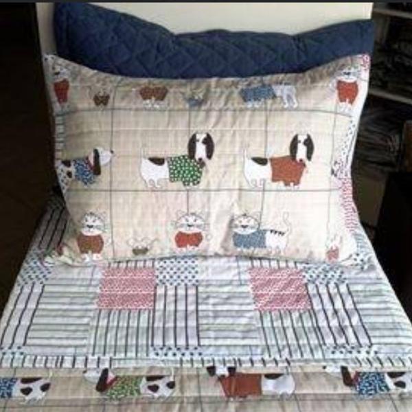 Edredom + porta travesseiro com estampa pet, para cama