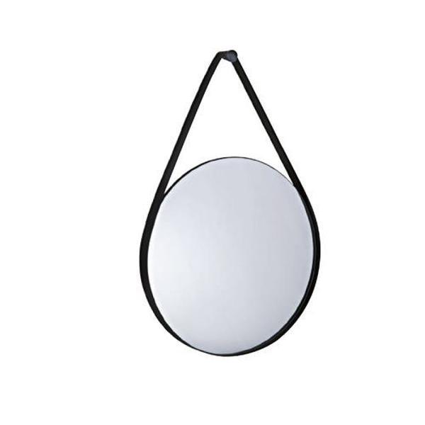 Espelho redondo decorativo metal e couro mart