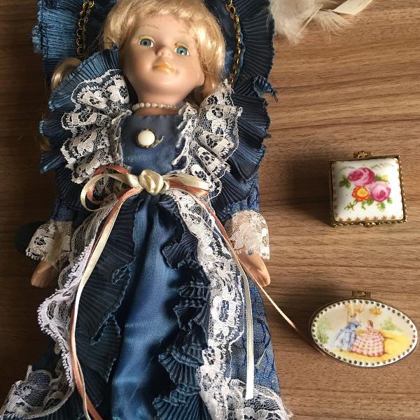 Kit boneca de porcelana e dois recipientes