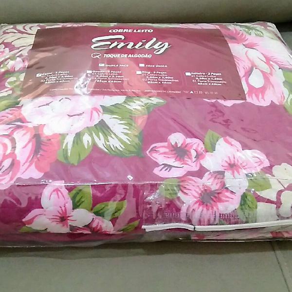 Kit cobre-leito casal marsala floral