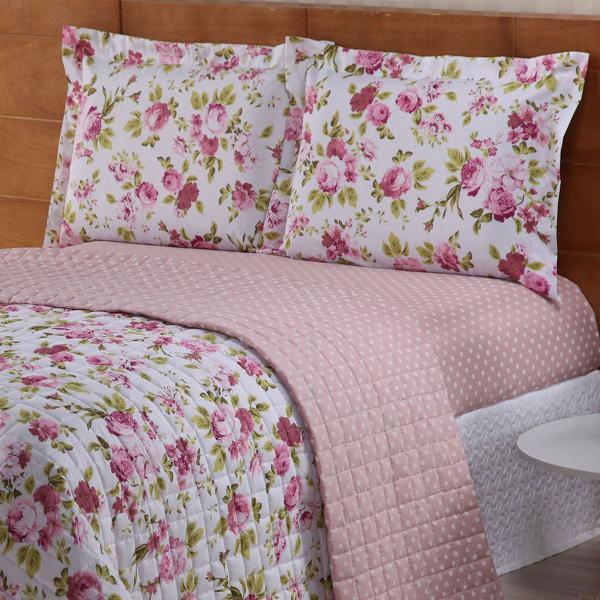Kit cobre leito casal queen 3 peças valentina 100% algodão