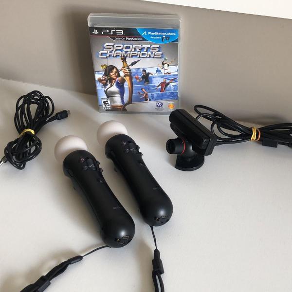 Kit ps3 playstation 3 move câmera + 2 controles + jogo e