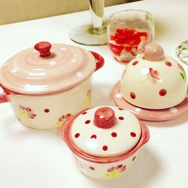 Porcelana conjunto potinhos e manteigueira rosa antigo