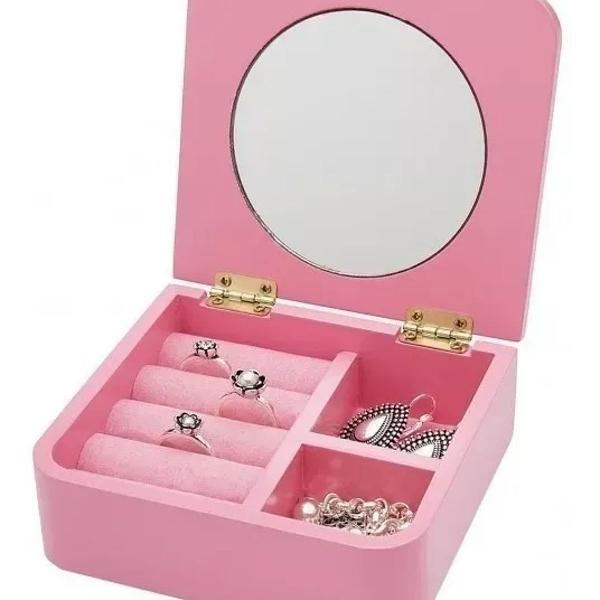 Porta jóias bijoux bijuteria c/ espelho caveirinha
