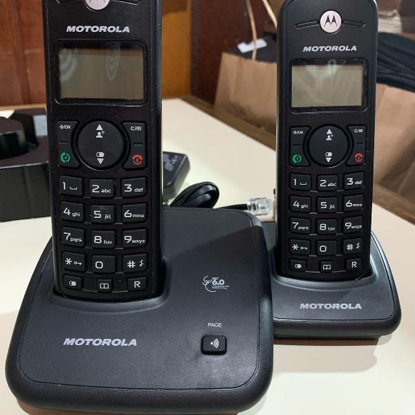 Telefone digital sem fio motorola com identificador de