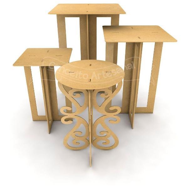 Trio mesa quadrada aniversário + brinde mesa redonda festa.