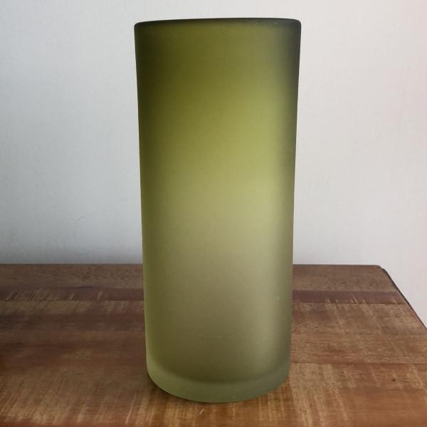 Vaso vidro grosso verde degradê