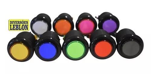 Botões de acrílico corpo preto (65 pçs) fliperama arcade