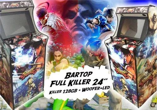 Fliperama bartop 24 pol com base fixa 23 mil jogos malvadeza