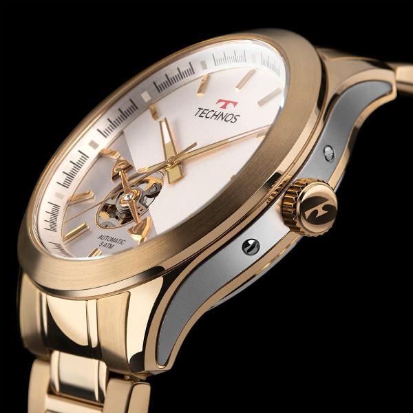 Relógio technos masculino automatico dourado 82s0ad/4b