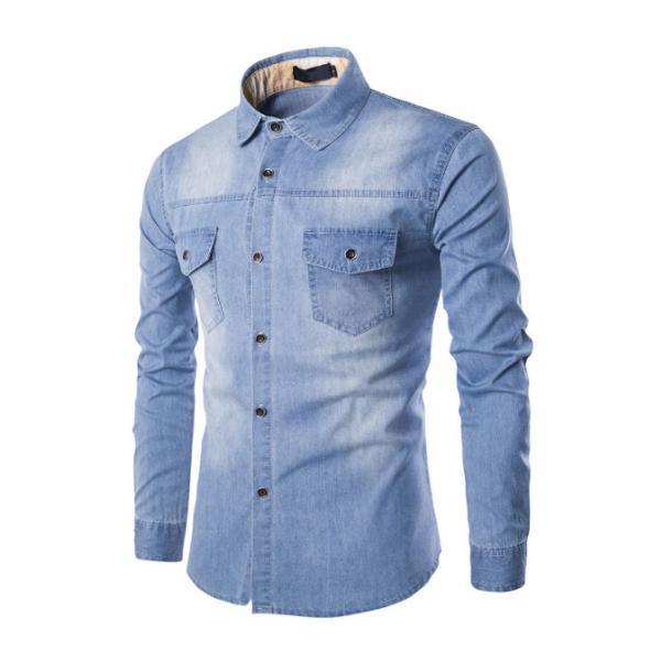 Blusa camisa jeans masculina manga longa pronta entrega