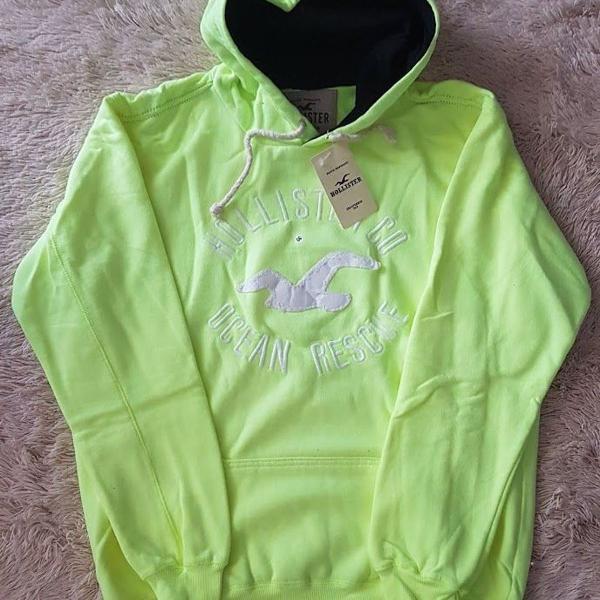 Blusa moletom hollister original verde claro tam gg