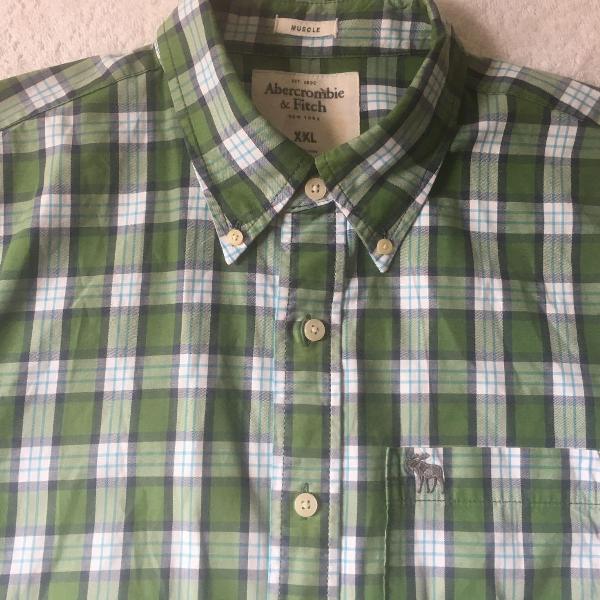 Camisa abercrombie & fitch verde xadrez xxl manga curta