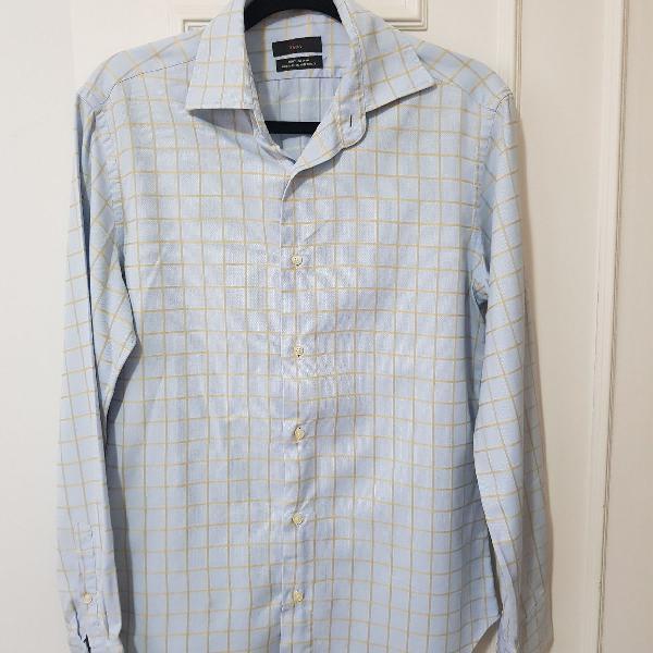 Camisa alfaiataria manga comprida azul quadriculada