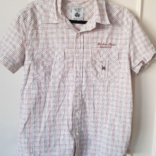 Camisa alfaiataria manga curta quadriculada usada uma vez