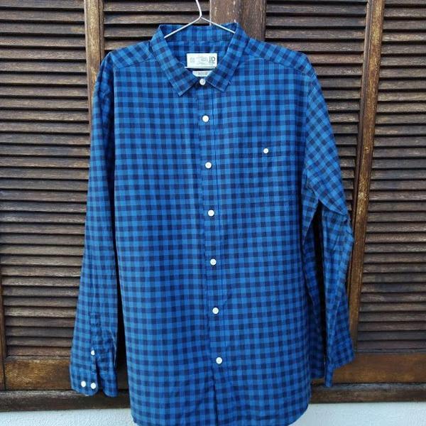 Camisa manga longa masculina xadrez azul
