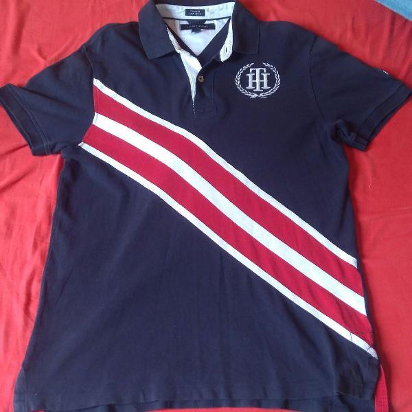 Camisa polo tommy hilfiger th marinho vermelho branco