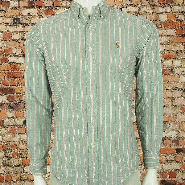Camisa polo ralph lauren custom fit green oxford button