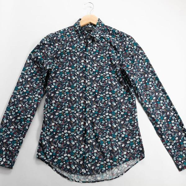 camisa zara floral azul