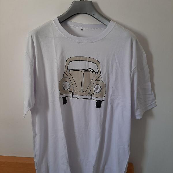 Camiseta branca, fusca, tamanho gg