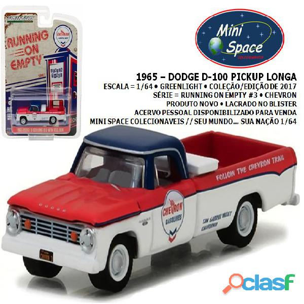 Greenlight 1965 dodge d 100 pickup longa logo chevron 1/64