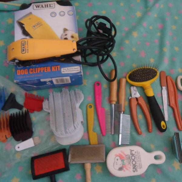 Kit maquina de tosa + acessórios para banho e tosa usado