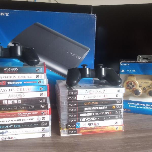 Playstation 3 com 20 jogos originais