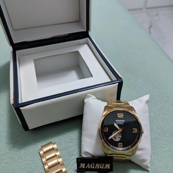 Relógio magnum automatic 21 jewels original dourado