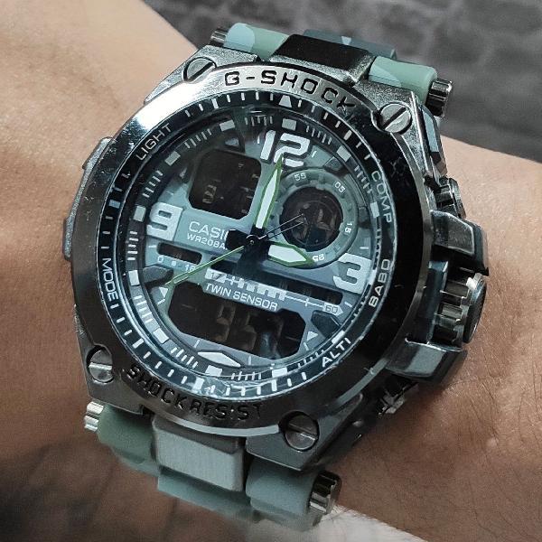 Relógio esportivo camuflado digital analógico todo