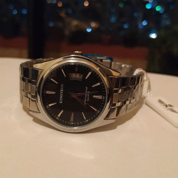 Relógio masculino analógico original kingnuos prata com