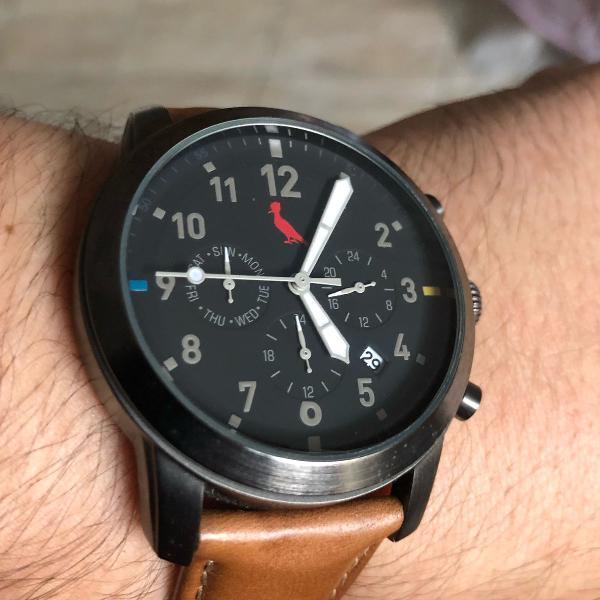 Relógio reserva couro