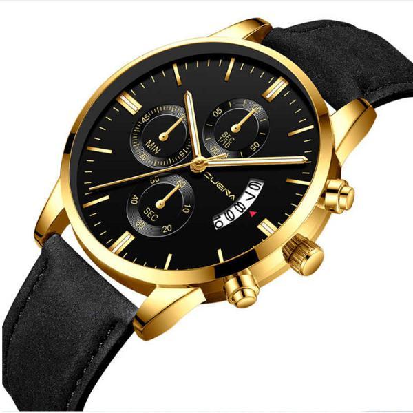 Relogio de luxo masculino preto e dourado