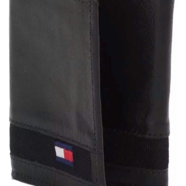 Carteira masculina couro legítimo porta cartão tommy