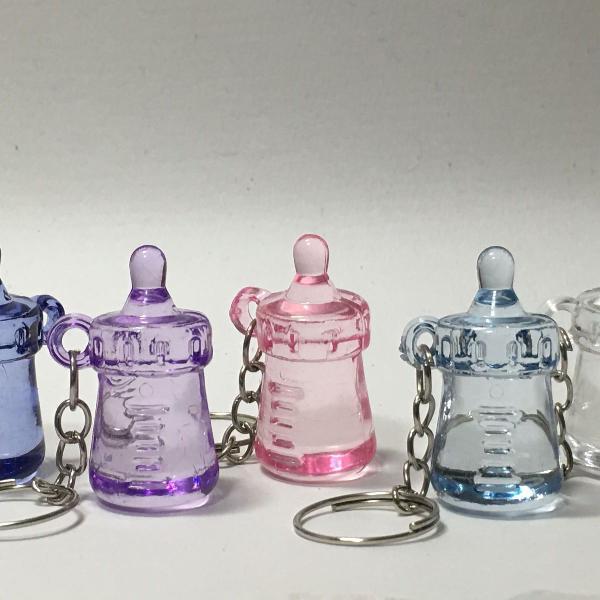 Chaveiro mamadeira chá de bebe kit c/ 50 unidades