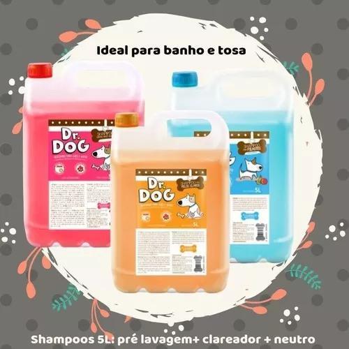 Kit3 banho e tosa dr dog profissional - 3x shampoos 5 litros