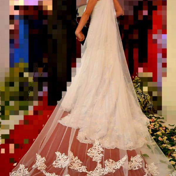 Véu de noiva bordado - 3 metros