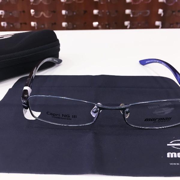 Armação óculos mormaii 1602 521 metal azul masculino
