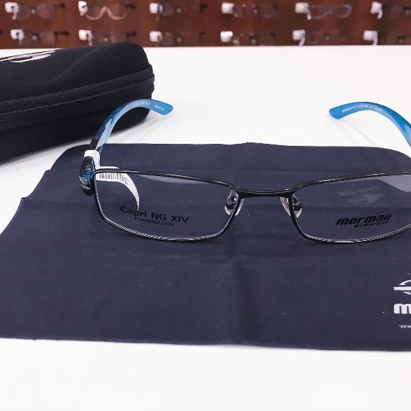 Armação óculos mormaii 1619 488 metal preto e azul
