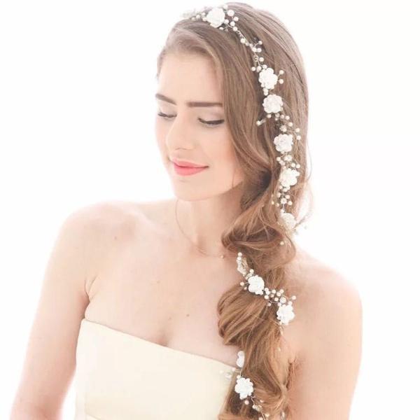 Arranjo branco noiva casamento grinaldas flor +pérola 2019