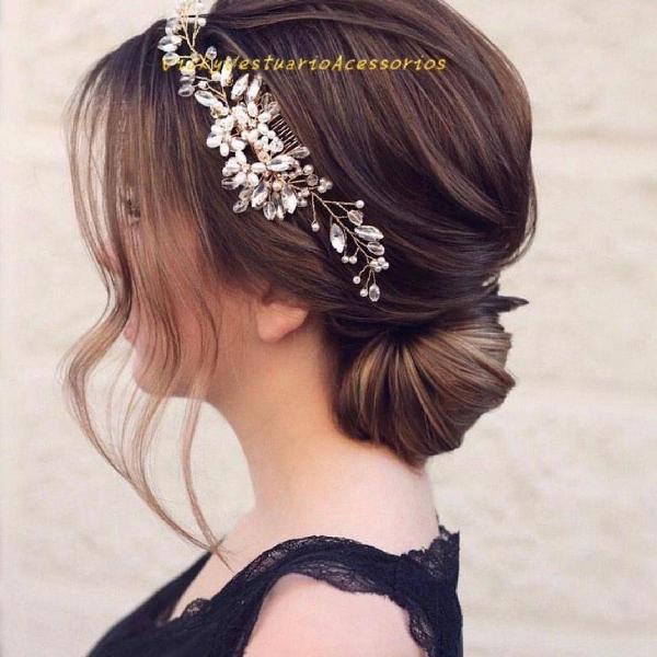 Arranjo noiva perolas rosa dourada cabelo para penteado