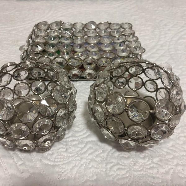 Caixinha porta velas e objeto prata