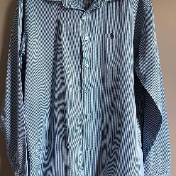 Camisa social azul polo ralph lauren
