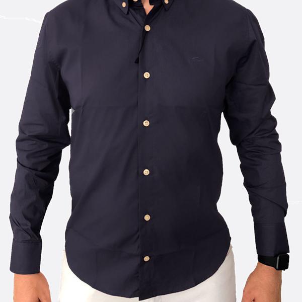 Camisa social lacoste azul marinho